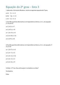 Equação do 2º grau - lista 3