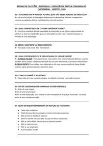 RESUMO DE QUESTÕES - DISCURSIVA - PRODUÇÃO DE TEXTOS E COMUNICAÇÃO EMPRESARIAL - UNINTER - 2020