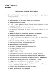 Exercícios CONEXÃO  INTERFRÁSTICA