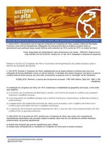 exercícios CONGRESSO DE VIENA ERA NAPOLEÔNICA COMUNA DE PARIS