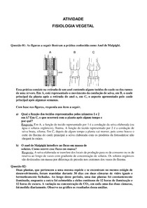 ATIVIDADE DE FISIOLOGIA VEGETAL