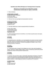 Ritmos Biológicos Fisiologia Animal Comparada - questões e respostas