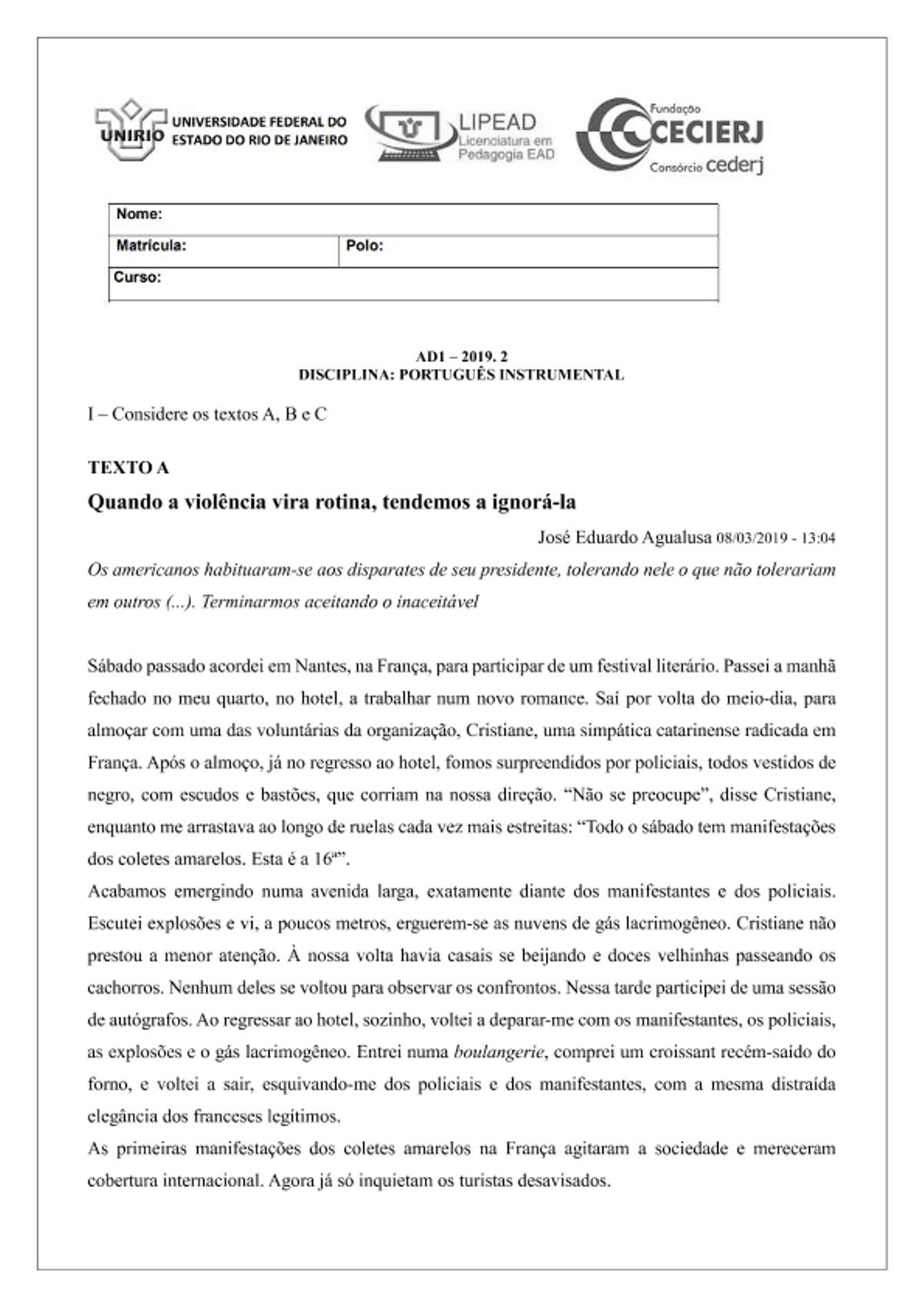 Pre-visualização do material AD1 Português Instrumental 2019.2 - CEDERJ/UNIRIO - página 1