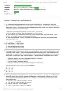 AVALIAÇÃO I - BIOSSEGURANÇA EM SEGURANÇA DO TRABALHO