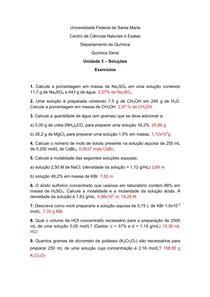 Lista de Exercícios 3  Soluções quimica geral engenharia