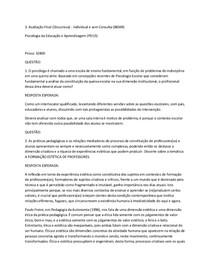Avaliação Final (Discursiva) Psicologia da Educação e Aprendizagem