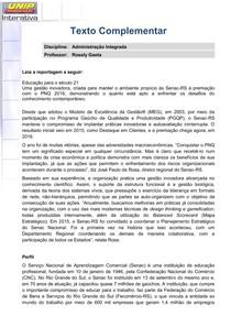 TEXTO COMPLEMENTAR ADMINISTRACÃO INTEGRADA