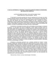 Artigo O Cálculo Diferencial e Integral e Suas Aplicações no Ensino da Engenharia Univás