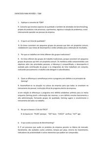 EXERCÍCIOS PARA REVISÃO-TQM- REVISÃO