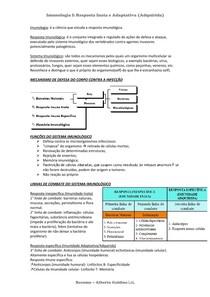 Imunologia Resposta Inata e Adaptativa - RESUMO