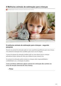 8 Melhores animais de estimação para crianças