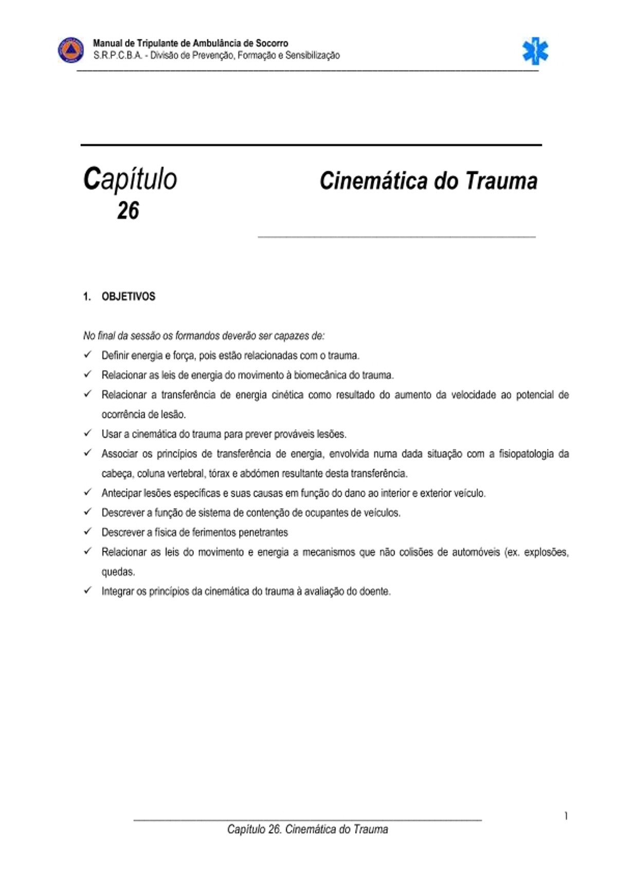 Pre-visualização do material CINEMATICA DO TRAUMA - página 1
