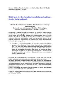Resumo do  Livro Relações Sociais e Serviço Social no Brasil