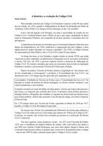 Resumo - A história e a evolução do Código Civil