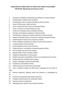 SUGESTÃO DE TEMAS DE TCC DIREITO DE FAMÍLIA E SUCESSÕES