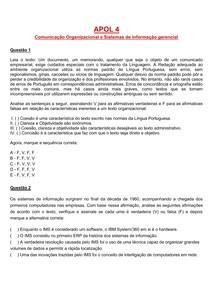 Apol 4 Comunicação Organizacional e Sistemas de Informações Gerenciais