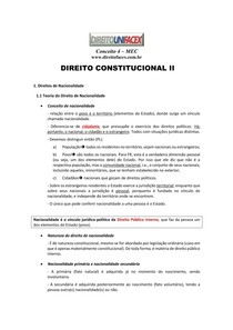 CONSTITUCIONAL - DIREITOS DE NACIONALIDADE (roteiro de estudo)