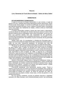 Elementos de Teoria Geral do Estado Dalmo de Abreu Dallari - DEMOCRACIA