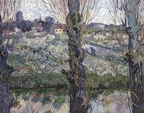 Vincent Willem van Gogh-pomar-em-flor-com-View-de-Arles