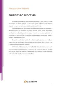 Sujeitos do processo - Resumo