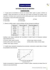 Estados físicos da matéria - lista de exercícios (Prof Brasil)
