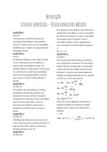 Resolução - Lista de Exercícios - Física conceitos básicos