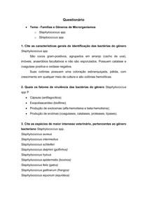 Questionário - Staphylococcus e Streptococcus