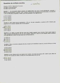 UNIP EAD - Prova Corrigida: Matemática Financeira (Administração)