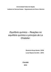 Relatório - Atividade 8 (Equilíbrio químico – Reações no equilíbrio químico e princípio de Le Chatelier)