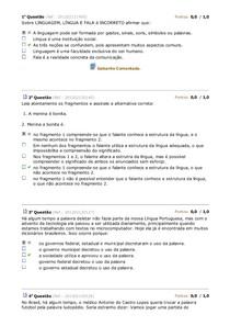 SIMULADO - LINGUISTICA I