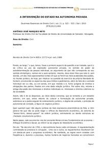 A INTERVENÇÃO DO ESTADO NA AUTONOMIA PRIVADA
