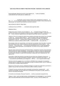 PETIÇÃO-AÇÃO ANULATÓRIA DE CRÉDITO TRIBUTÁRIO PETIÇÕES