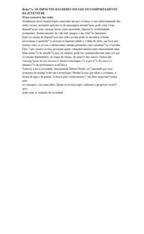 Redação: OS IMPACTOS DAS REDES SOCIAIS NO COMPORTAMENTO DA JUVENTUDE