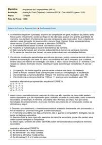 Arquitetura de Computadores (INF14)   Avaliação Final (Objetiva)   Individual FLEX Cod (404050) Prova (7279664)