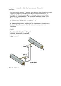 Fenomenos de Transporte  -  Avaliação I (gabarito) EAD Uniasselvi