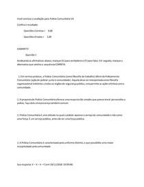 avaliação final senasp- POLÍCIA COMUNITÁRIA