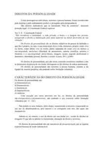 DIREITOS DA PERSONALIDADE Direito Civil I