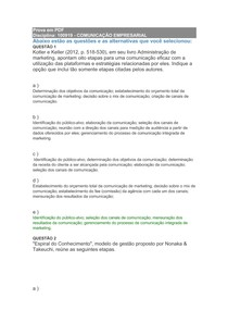 Comunicação Empresarial - Prova Presencial