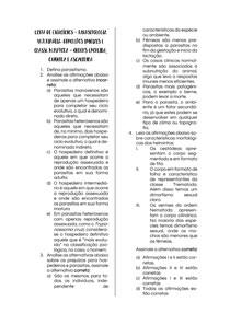 Parasitologia Veterinária: Exercícios sobre Conceitos iniciais e Ordem Nematoda - Classes Enoplida, Oxyurida e Ascaridida
