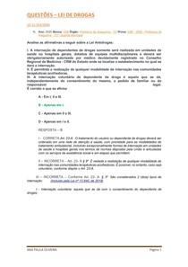 EXERCÍCIOS - LEI DE DROGAS - 11.343/2006