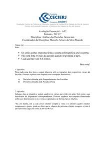 AP2   2015.1   Análise das Decisões Gerenciais