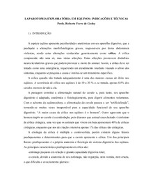 LAPAROTOMIA EXPLORATÓRIA EM EQÜINOS: INDICAÇÕES E TÉCNICAS Dra. Robeta F. de Godoy-UNB