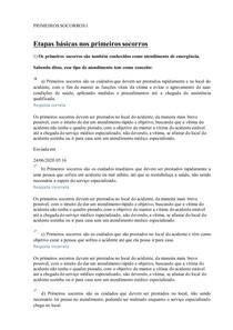 PRIMEIROS SOCORROS I - Exercícios