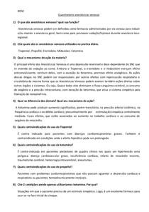 Questionário Anestésicos Venosos