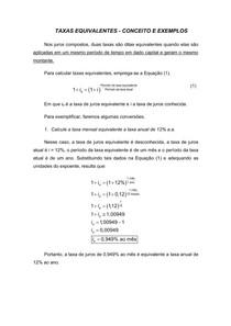 Taxas equivalentes de juros - Conceito e exemplos