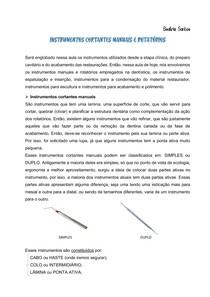 Instrumentos cortantes manuais e rotarórios