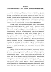 Resumo - Desenvolvimento cognitivo A teoria de Piaget e a visão Sociocultural de Vygotsky
