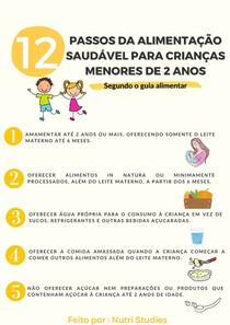 12 passos da alimentação saudável para crianças menores de 2 anos