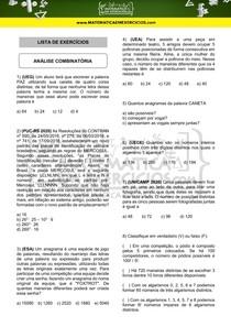 Exercícios - Análise combinatória