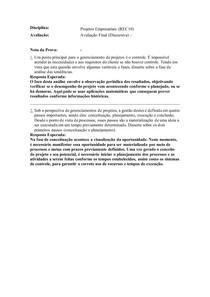 AVALIAÇÃO FINAL DISCURSIVA PROJETOS EMPRESARIAIS (REC10)